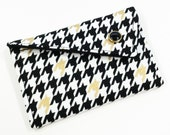 Business Card Holder - Black White and Metallic Gold Houndstooth (LIMITED EDITION)