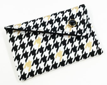 Business Card Holder Monogrammed Card Case Wallet - Black White and Metallic Gold Houndstooth (LIMITED EDITION)