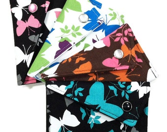 Business Card Holder - You Choose Black, Turquoise, Pink, Green, Purple, and Brown Butterfly (LIMITED EDITION) Card Case Wallet