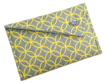 Business Card Holder - Grey and Yellow Modern Quatrefoil