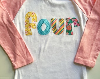 FOUR Birthday, 4th Birthday Shirt, Birthday Shirt for 4 year old,  Multiple Colors, Short or Long Sleeve