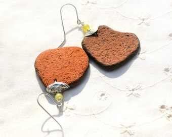 Designer inspired Terra Cotta Sea Pottery Earrings in Silver with Jade. Israel Jewelry. Brick Red Ancient Ceramic. Ethnic Statement Earrings