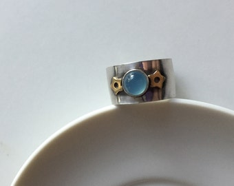Blue Chalcedony & Brass Star Sterling Silver Ring, Size 5.5