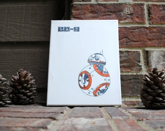 """8""""x10"""" BB-8 Inspired Hand-Inked Wrapped Canvas"""