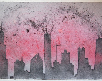 Chicago Skyline No.20: pulp painting on handmade abaca/cotton paper (2015), Item No. 147.20