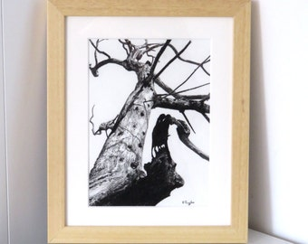 Tree drawing, charcoal drawing, landscape drawing, pencil drawing, gothic art, black and white art, tree art, dead tree, halloweentree