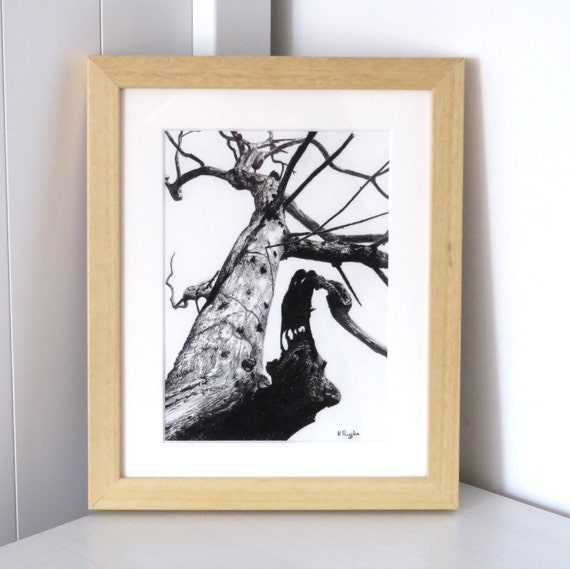 Tree drawing, charcoal drawing, landscape drawing, pencil drawing, gothic art, black and white art, tree art, dead tree, spooky tree