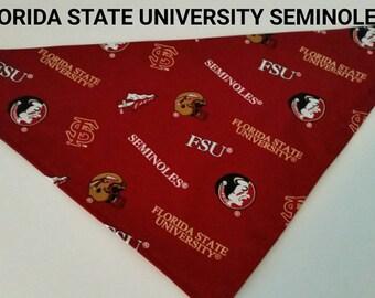 Florida State, Florida Seminoles dog bandana to cheer on the team, NCAA bandana. No ties just slip over collar