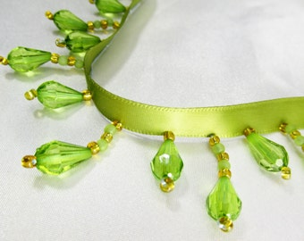 Peridot Olive Green and Gold Short Beaded Fringe Trim Alternating Lengths Faceted Teardrop Beaded Decorator Trim