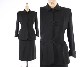 Vintage 40s SUIT / 1940s Tailored BLACK Wool Gabardine Blazer Jacket & Pencil Skirt Set XS