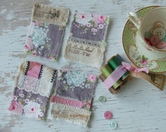 FaBRic EmBElliShMents -pink roses - cottage chic embellishment - shabby elegance - Fabric squares - scrap fabric