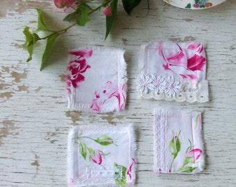 FaBRic EmBElliShMents -pink roses - cottage chic embellishment - shabby elegance - Fabric squares - scrap fabric