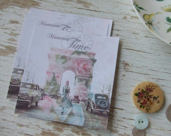 Paris notecards - Shabby cottage Chic mini French cards -  Arc de triomphe notecards - embellishments