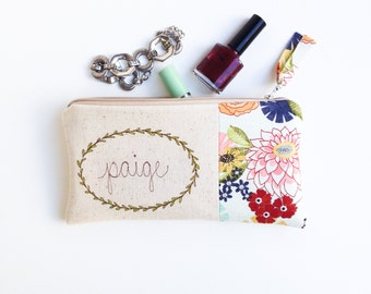Personalized Wife, Unique Gift for Wife, Husband to Wife Gift, Cotton Anniversary, Personalized Zipper Clutch, Anniversary Gift Ideas