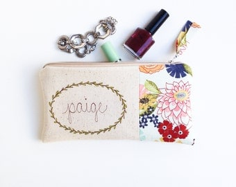 Personalized Wife Gift, Floral Zipper Pouch, Unique Gift for Wife, Husband to Wife Gift, Cotton Anniversary, Anniversary Gift Ideas