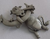 Vintage brooch, signed JJ (Jonette Jewelry) Cow hanging on the moon articulated pewter brooch,jewelry