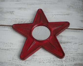 Small red metal star mirror country farmhouse Americana
