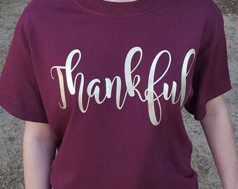 Thankful Shirt - Thanksgiving - Fall - Fall Colors - Fall Shirt - Womens - Children - Girls - Holiday Shirt - Womens Thankful Shirt - Youth