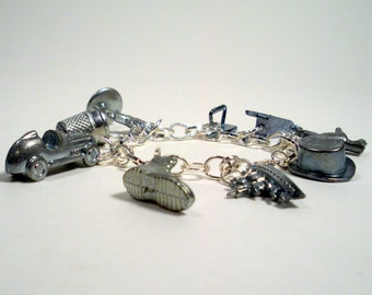 Upcycled Monopoly Game Pieces, Monopoly Charm Bracelet, Recycled Pewter Game Pieces