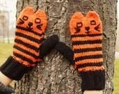 ON SALE Halloween Cat Mittens Orange & Black Striped Cat Mittens - Halloween Knit Cat Mittens Vegan Cat Mittens - Knit Animal Vegan Mittens