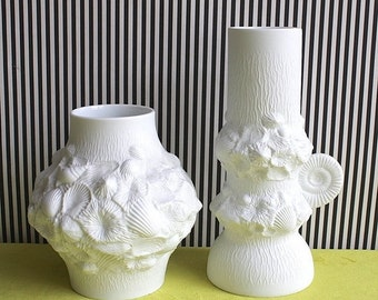 Summersale Set of Two Op Art White Matte German Porcelain Vases Fossil Ammonite by Kaiser