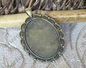 5 pcs Antique bronze Oval Cabochon pendant tray (Cabochon size 30x40mm),bezel charm findings,lacework findings,cabochon blank finding