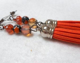 Halloween Earrings, Halloween Tassel Earrings, Halloween Jewelry, Orange and Black Earrings, Millefiori Earrings, Glass Bead Earrings, Scary