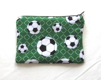 Soccer Fabric Coin Purse/Zipper Pouch/Gift Card Envelope Bag