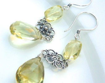Lemon Quartz and Bali Silver Filigree Drop Earrings. Christmas Gift. Gemstone Jewelry. Long Dangly Drop Earrings.