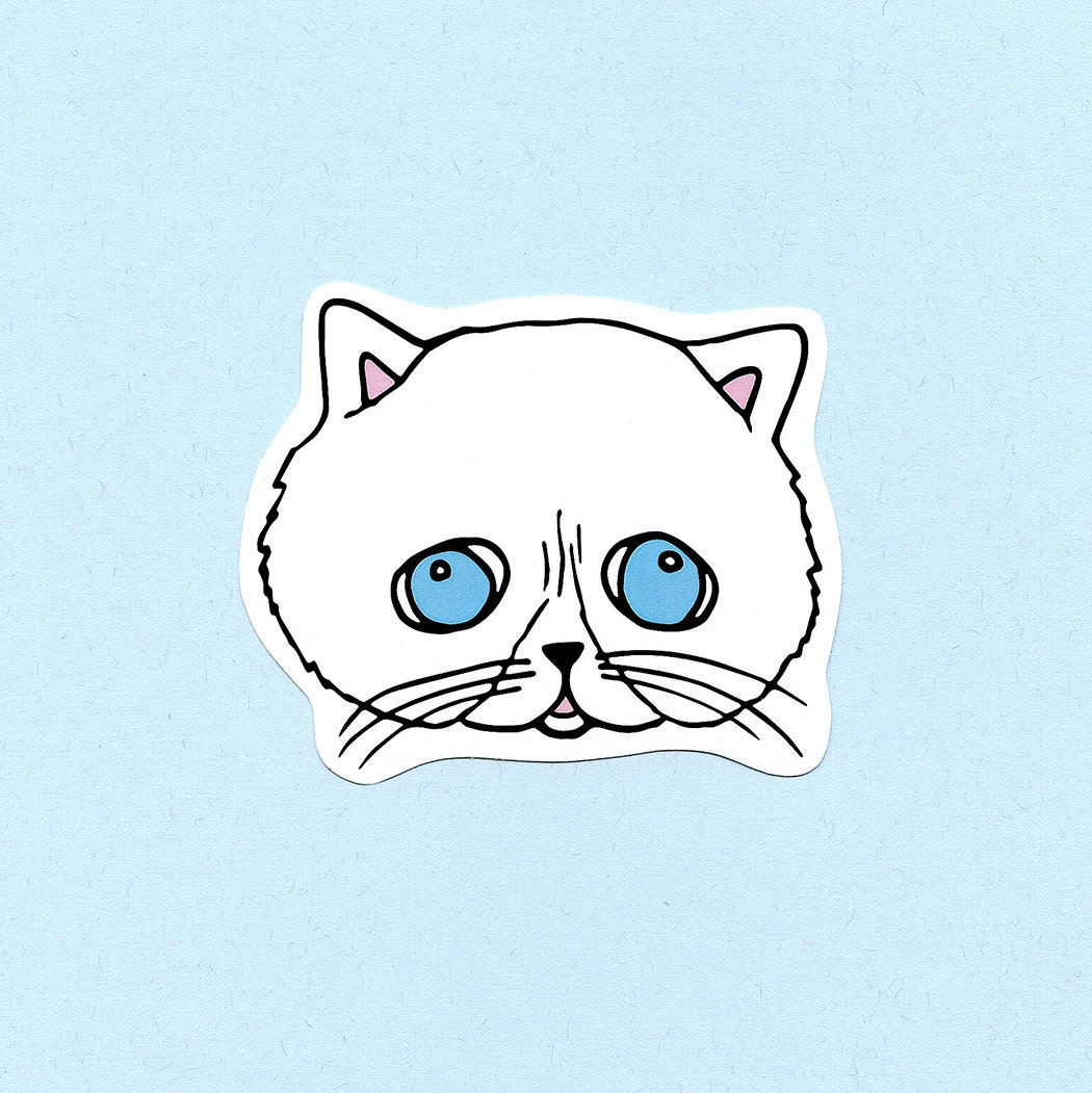 White Squishy Face Cat : Squishy Face Cat Vinyl Sticker by TinyNarwhalTexas on Etsy