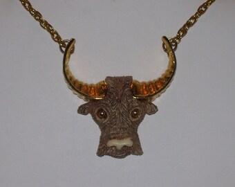 Vintage Razza Taurus Bull Necklace 1970s Retro Jewelry Designer Signed Pendant