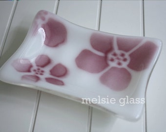 Ruby Hibiscus soap dish - pink flowers on opaque white glass, glass soap dish