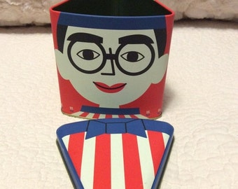20% OFF SALE Vintage Funny Man Glasses Tin Container Asian Red White Blue