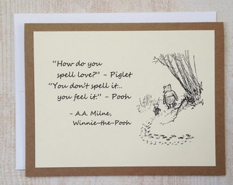 How Do You Spell Love - Winnie the Pooh Quote - Classic Piglet and Pooh Note Card Cream On Kraft Brown