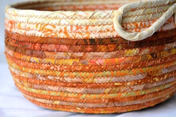Fiber Art Vessel, Tan Batik Basket, Beautiful Batik Fabric Bowl, Handmade Coiled Basket, Gift Basket, Decorative Napkin Holder, Bread Basket