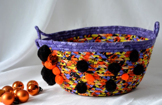 Halloween Decoration, Candy Bucket, Handmade Fall Decorative Bowl, Toy Organizer, Storage Basket, Orange Fall Decoration