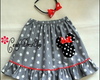 Minnie Mouse inspired skirt for girls, Gray and white polka dot skirt, Girls Minnie skirt and matching headband, Minnie Mouse applique skirt