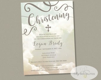 Elegant Christening Invitation | Clouds, Heavenly, Boy or Girl, Decorative Text | Instant Download | Editable PDF Template Invitation