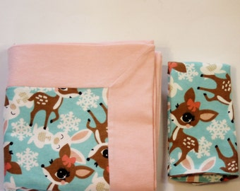 Peach and Bambi Print Double Flannel Baby Blanket with Matching Burp Cloth for Girls- Receiving Blanket, Flannel Blanket