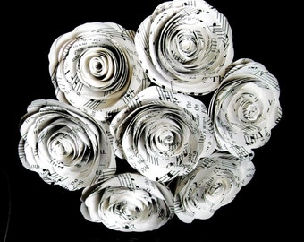 """sheet music hymnal 2"""" size spiral rose paper flower bouquet nosegay 7 rose style"""