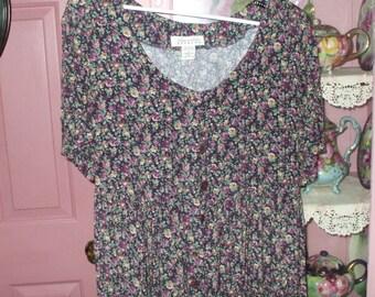 Women's Vintage 90's Express Dress Floral Print Rayon Midi Size Small