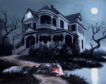 Alligator Haunted Mansion 11 x 17 print by RUSTY RUST / A-113-P