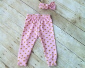 Baby Girl Leggings Pants - Baby Infant Toddler Pants - Children's Leggings - pink heart leggings - leggings and headband