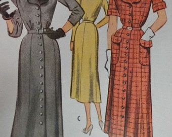 "Vintage 1950s McCall 8291 Dress Pattern Size 14 for 32"" Bust"