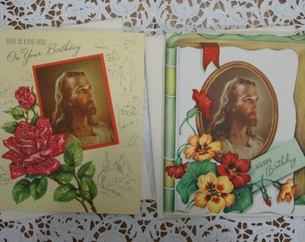 Vintage Religious Birthday Greeting Cards Lot of 2 Unused