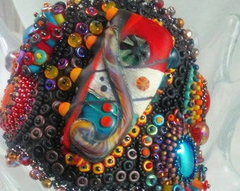 Rio de Janeiro:  Bead Embroidered Bracelet Lampwork focal, rubber tubing, festival,  Carnival , O beads, Czech beads