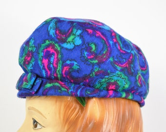1960s Mod Hat Womens News Boy Cap Blue and Pink Paisley Hat with Green Lining