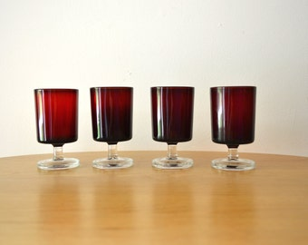 Mid Century Ruby Red Luminarc Cavalier Glasses
