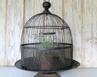 Vintage Metal Birdcage, Birdcage on Pedestal, Round Metal Bird Cage, Antique Birdcage, Black Birdcage