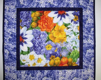 Floral Table Topper in gorgeous blossoms fabric from South Sea Imports